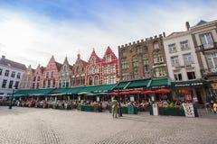 Centrummarkt van Brugge, België Stock Foto