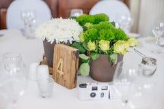 Centrumstuk bij een huwelijk stock fotografie