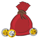 Cents and bag. Red full bag of money with many coins of euro Stock Images