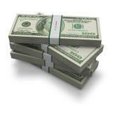 Cents billets de banque du dollar avec la bande empilée Photographie stock