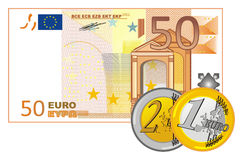 Cents of cash of money. Cash of 50 euro with coins of euro Royalty Free Stock Photo