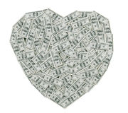 Cents coeurs de billet d'un dollar Image libre de droits