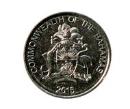 25 Cents coin (Commonwealth - Decimal Coinage). Bank of Bahamas. Reverse, 2015 royalty free stock photography