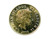 25 Cents coin (Two Masted Cayman Schooner). Bank of Cayman Islan. Ds. Reverse, 2008 Stock Images