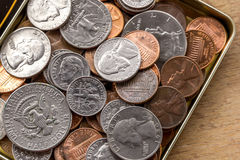 Cents dimes and quarters Royalty Free Stock Photo