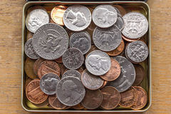 Cents dimes and quarters Royalty Free Stock Photos