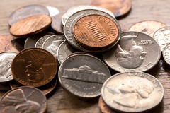 Cents dimes and quarters Royalty Free Stock Photography