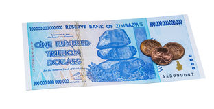 Cents dollars du trillion du Zimbabwe Image stock