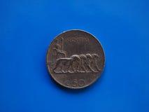 50 Cents prägen, Königreich von Italien über Blau Stockfotografie