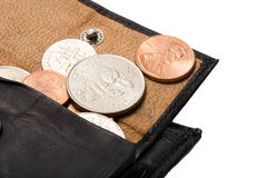 Cents in purse Royalty Free Stock Image