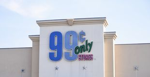 99 Cents Only Stores Sign, Fort Worth, Texas. Sign at 99 Cents Only Stores, a American price-point retailer chain based in Commerce, California. Previously, the royalty free stock photography