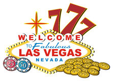 Cents and symbols of casino. Banner of Las vegas with numbers 777 and coins and chips Stock Photography