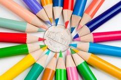 centu monety pięć ołówki Zdjęcie Stock