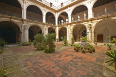 Centuries-old arches and courtyard of Hotel Florida, a colonial building in Havana, Cuba royalty free stock image