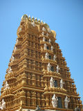 Centuries-old Hindu Temple Tower. The tower of centuries-old temple of hindu god Lord Nanundeshwara, which is situated in Nanjangudu, about 165 kilometers from Stock Photo