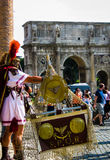 Centurion in front of the Colosseum in Rome Royalty Free Stock Photo