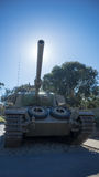 Centurion Mk5 battle tank. A front view of a Centurion MK5 battle tank with the blue sky in the background. The tank is on display at the Australian War Memorial Stock Photos