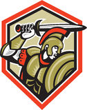 Centurion Roman Soldier Attacking Shield. Illustration of centurion roman soldier gladiator attacking with a sword and shield viewed from side set inside crest Royalty Free Stock Images