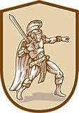 Centurion Roman Soldier Wielding Sword Cartoon Fotografia de Stock Royalty Free