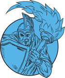 Centurion Soldier Torch Circle Drawing Royalty Free Stock Photography