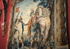 Centurion and war horse illustrated in woven tapestry stock photo