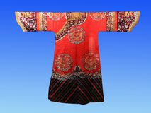 A century ago, Chinese silk court dress. Hangzhou China silk museum exhibits Royalty Free Stock Images