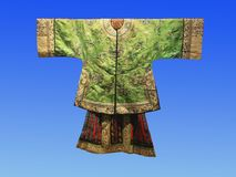 A century ago, Chinese silk court dress. Hangzhou China silk museum exhibits Royalty Free Stock Photos