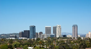 Century City in California. Century City skyscrapers sit near Los Angeles in early 2015. Construction had just begun on renovating the mall, including one of the Stock Photo