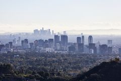 Century City and Downtown Los Angeles Smog stock photography