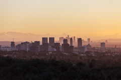 Century City and Los Angeles Dawn. Warm dawn light on Century City and Beverly Hills with downtown Los Angeles in the background Stock Images