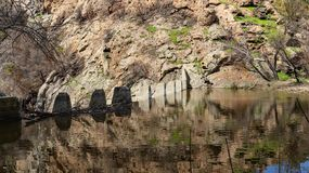 Century Dam. Water spills over Century Dam in Malibu Creek State Park in Southern California royalty free stock images