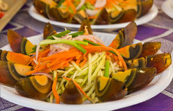 Century Egg spicy salad. Stock Photo