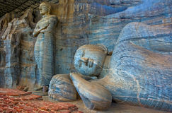 12 Century Gal Vihara Temple. That Is A Rock Temple Of The Buddha Situated In Polonnaruwa. The Temple has Four Rock Relief Statues Of The Buddha, Which Was royalty free stock image