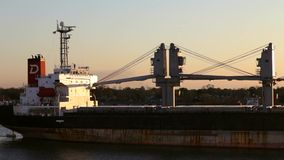Century Queen industrial vessel is sailing to the port of New Orleans, USA stock footage