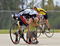 Century Ride Finisher Getting Congratulations Royalty Free Stock Image
