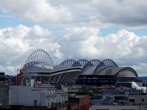 CenturyLink Field and Safeco on a cloudy day Royalty Free Stock Photo