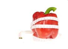 Centymetrowy i czerwony pieprz zdrowia jedzenie i diet pojęcia, Zdjęcia Royalty Free