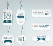 Ceny sprzedaży etykietki papierowej karty szablon Obrazy Royalty Free