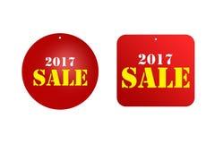 Ceny sprzedaży redukcyjna etykietka dla rabatów 2017 Zdjęcia Royalty Free