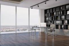 CEO办公室内部,书橱侧视图 向量例证