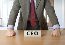 CEO που κλίνει στο γραφείο σε ένα γραφείο Στοκ εικόνες με δικαίωμα ελεύθερης χρήσης