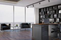 CEO-Büroinnenraum, Bücherschrank, Lehnsessel vektor abbildung