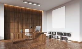 CEO bureau met houten muur en affiche stock illustratie