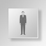 CEO Button Icon Concept do homem 3D Fotografia de Stock