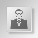 CEO Button Icon Concept do homem 3D Fotografia de Stock Royalty Free