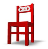 Ceo chair. Chair with ceo tag on white background - 3d illustration Stock Photo