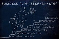 Ceo che va su alcune scale con il business plan del testo per gradi Immagini Stock