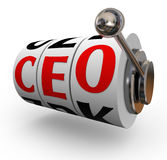CEO Chief Executive Officer Search Recruitment Slot Machine. Searching for a good quality chief executive officer or CEO can be like pulling a handle on a slot Stock Photo