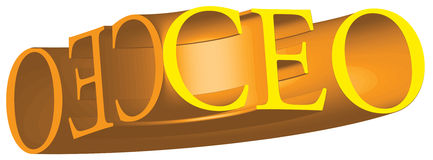 CEO Chief Executive Officer Title in Gold 3D Stock Photography