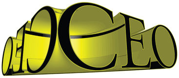 CEO Chief Executive Officer Title in Yellow 3D Stock Photos
